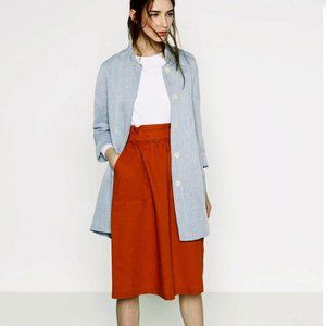 EUC Zara light wash blue linen blend casual jacket